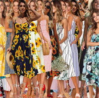 Boho 꽃 무늬 민소매 미디 드레스 33 스타일 여성 프린트 여름 V 목 주머니 Pleated Backless 버튼 드레스 LJJO6295