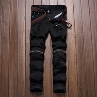 Man black red white autumn men Casual Denim Pants Classic Co...