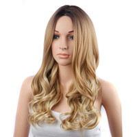 New Style Lace Frontal Long Curly Synthetic Wig Ombre Three ...