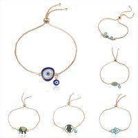 Nuevo pavo azul pulseras de mal de ojo para mujeres hombres buena suerte Hamsa mano elefante carta de amor encanto cadenas ajustables brazalete joyería de moda