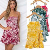 Yaz Kayışı Baskı Çiçek Mini Boho Bohemian Plaj Elbise Kadın Sundress Seksi Casual Vintage Bayanlar Elbise Çok Tasarımlar