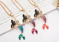 Tam Rinestone Kristal Mermaid Kolye Kolye Altın Kaplama Alaşım Uzun Zincir Kolye Kadınlar Yeni Moda Takı