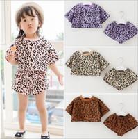 Yaz Giyim Setleri Leopar Baskı Çocuk Giyim Yaz Kısa Kollu Üst + kısa Çocuk Kıyafetleri 2 adet setleri