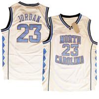 Erkek Kuzey Carolina UNC Tar Topuklu Michaeljordan # 23 Basketbol Gerileme Forması Çift Stiched Yüksek Quanlity Polyester Beyaz Mavi Siyah