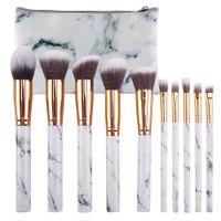 Kozmetik Pudra Fondöten için 10 adet Mermer Patten Makyaj Fırça Göz Farı Dudak Makyaj Fırçalar Set Güzellik Aracı