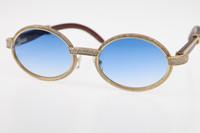 Ücretsiz Kargo Daha küçük Big Taşlar Gözlük 18K Altın Vintage Ahşap 7550178 Güneş gözlüğü Yuvarlak Vintage Unisex Yüksek son Elmas Gözlük C Dekorasyon