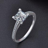 Mousserande kvadrat zircon vigselringar för kvinnor riktigt 925 sterling silver förlovning party smycken gilrs damer gips dropshipping