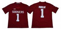 Мужские#1 Kyler Murray Оклахома Sooners NCAA колледж футбол Джерси двойной сшитые Имя номер логотипы белый красный быстрая доставка