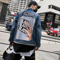 Denim Jacket Men Windbreakers Jeans Jacket Cardigan Letter T...