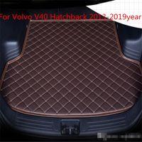 İçin Volvo V40 Hatchback 2013-2019year s Araç Gövde Mat Su geçirmez deri Halı Araç Gövde Mat Düz Pad Anti-skid