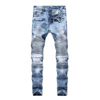 Calças de Jeans dos Homens Jeans Oi Street Style Snowflake Rasgado Motor Jeans Marca Designer Hip Hop Streetwear