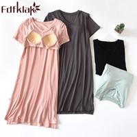 Лето Fdfklak женская ночная рубашка с коротким рукавом модальный с груди площадку Спящая платье ночная рубашка для дамы ночь одежда плюс размер М-XXL