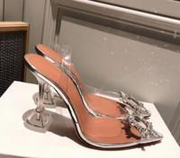 Mükemmel Resmi Kalite Amina Ayakkabı Begum Pvc Slingback Muaddi restocks Begum Pvc arkası açık iskarpin 5cm Yüksek topuk Pompalar Kristal-süslenmiş