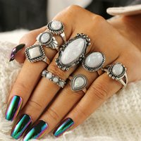 Retro Fashion Enthic Big Geomstone Rings Set For Women 8PCS ...