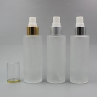 100ml 빈 프 로스트 유리 스프레이 미세한 안개 병 3.4oz 리필 할 수있는 라운드 유리 크림 펌프 디스펜서 골드 실버 칼라 알루미늄 분무기