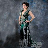 aso EBI dentelle sirène col en V longues robes de soirée arabe Sheer manches longues satin appliques de perles longueur de plancher formelle Prom Party Robes 2020
