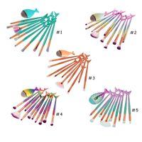 11pcs 공주 메이크업 브러쉬 세트 다이아몬드 레인보우 큰 물고기 꼬리 화장품 파운데이션 브러쉬 미용 도구는 브러쉬 키트 Q160을 확인 다목적