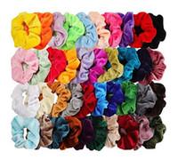 60PC / Pack-Girl Frauen-Samt-Haar Scrunchies Pferdeschwanz-Halter-elastische Haarbänder Haargummis Seile Haar Pleuche Kopfbedeckung GGA2871