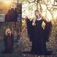 Vintage Medieval Gothic Black Spitze Brautkleider 2020 Flare langen Ärmeln Applique Sweep Zug Bridal Brautkleider robe de mariée