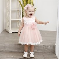 Neonate Summer Dress 2018 Moda vestiti del bambino per il battesimo neonato Abiti infantile 1 anno compleanno Cute Dress Wedding Party Y19061001