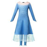 Filles 2019 film neige reine nouvelle robe bleu enfants princesse Costume et pantalons 2pcs mis Halloween gelé costumeLD19110104 cosplay fantaisie