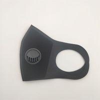 Máscara lavable boca con válvula de ventilación Negro Doble capa de esponja estéreo máscaras para respirar el polvo anti cara para adultos en el archivo 2 E1 5JF