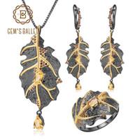 GEM'S BALLET Georgia O'keeffe Natural Citrine 925 hecho a mano de plata deja el anillo pendientes colgante conjunto de joyas para mujeres