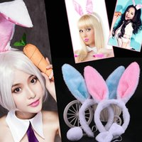 2019 New Children Long Rabbit Ear Plush Hair Hoop Candy Colo...