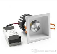 Kare COB downlight LED gömme spot değiştirilebilir ışık kaynağı tavan lambası alüminyum 110 V-240 V 6 w / 10 W / 15 W kesim delik 75mm