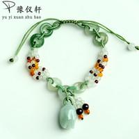Yu Yixuan naturais rosas jade trançado A mercadoria de pulseira de esmeralda pulseira retrátil simples feminino jóias CX200623 frete grátis