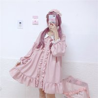 Japon Femmes Rose Lolita Style Mini Party Dress Peter Pan Col Ruffles Star Fille Chemise Robe Mignonne Kawaii École Cosplay Uniforme Y19053001