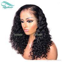 BURTHTHAIR Brasileño Pre inclinado Rizado Parte izquierdo Full Encaje Pelucas de cabello humano con pelos para bebés Peluca delantera de encaje para mujeres negras