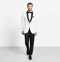 Prosta Ivory Custom Online Mężczyźni Garnitury Slim Fit Grooms Tuxedos Dwukierki Dwuczęściowe Garnitury Ślubne Biznesowe Wzierze Formalne (Kurtka + Spodnie)