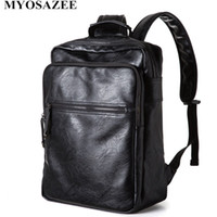 Men' s Backpack Black PU Leather Travel Bag Men Laptop B...