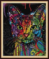 Renkli Kedi Ev Dekor DIY Yapıt Kiti, El Yapımı Çapraz Dikiş Zanaat Araçları Nakış İğne Setleri Tuval Üzerine Baskı DMC 14CT / 11CT
