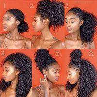 Cordon de cordon de queue de queue humaine Human Cheveux mongols Afro Kinky Curly Ponails 4B 4C Clip en Extensions Couleur Naturelle Bonds Cheveux Brown Ombre Poneytail