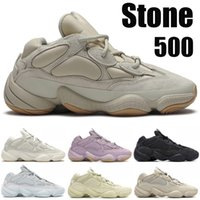 Hot Stone 500 Desert Rat Kanye West Reflective Macio Visão Osso Branco Running Shoes sapatilhas do desenhista Black Salt Blush Yellow Mens wowen