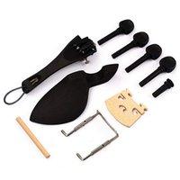 15Pcs 바이올린 부품 흑단 나무 4/4 바이올린 부품 액세서리 브리지 친 나머지 엔드 핀 튜너 테일 기타 악기