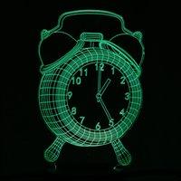 화려한 알람 시계 디자인의 USB 나이트 라이트 3D LED 램프