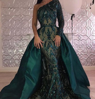Роскошные темно-зеленые вечерние платья Платья Zuhair Murad на одно плечо 2018 Выпускное платье с блестками и русалкой на заказ
