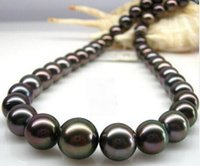 "18 "" 8- 9mm natural Tahitian genuine black round pearl si..."