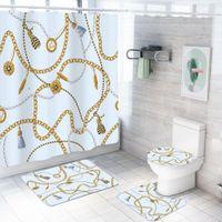 4 Stück Sets Luxus Duschvorhang Sets mit Badteppich Toilettendeckel Abdeckung Bodenmatte wasserdichten Wanne Vorhang Barock Vintage Style
