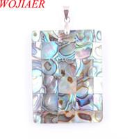 Wojiier Natural Abalone Shell Pearl Colgantes Collares Oblong Square Gem Piedra Bead Mujer Joyería DN3373