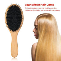 Boar Bristle Hair Brushes Natural Bamboo Cushion Massage Ant...