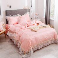 Laço rosa Bordado Capa de Edredão Set Rei Rainha do Gêmeo tamanho 4 pcs Princesa jogo de Cama Sólida Cama De Luxo Saia Fronhas 2019 Novo