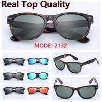 Nuevas gafas de sol 2132 superior lentes de cristal verdadera calidad UV400 gafas de sol des lunettes de soleil caso de cuero libre, paquete al por menor everyth!