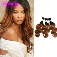 Pérou Virgin Hair 1B / 30 # vague de corps Extensions de cheveux 95-105g / pièce 100% cheveux humains 1B Trames 30 Couleur Ombre