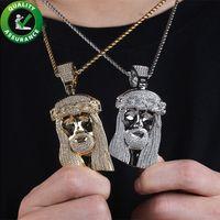 Buzlu Out kolye Tasarımcı kolye Bling Elmas İsa kolye Lüks Hip Hop Takı Erkek Rapçi Moda Aksesuar Hiphop Charms 18k altın
