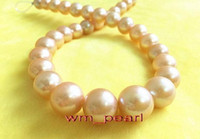 "Fine Pearls Jewelry 18 ""13-14mm rotondo REAL NATURAL south sea gold Collana di perle rosa oro 14 carati"