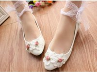 Women' s shoes handmade flowers white lace flowers soft ...